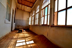 Hospital (TareqD) Tags: windows light shadow reflection building abandoned architecture hospital outdoors march town sand flickr pattern quiet desert empty sandy dune ghost ruin social creepy spooky indoors shade left desolate namibia 2016 kolmanskop