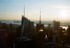 (andrewethomp) Tags: city nyc newyorkcity sunset building film beautiful skyline architecture skyscraper mediumformat downtown fuji kodak outdoor iso400 empirestate 6x9 portra topoftherock portra400 gw690 texasleica gw690iii statefilmlab