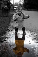 Splashing (Milk&2Sugars) Tags: bw playing child olympus selectivecolour 1240mm