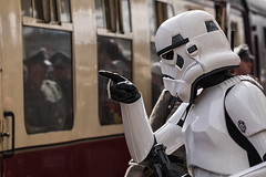 I SEE YOU! (Mister Oy) Tags: train starwars costume carriage cosplay stormtrooper pointing davegreen eastlancsrailway 99thgarrison oyphotos fujixt1 oyphotos fuji90mmf2