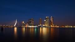 Wilhelminapier (night) (Wijnand Kroes Photography) Tags: water skyline rotterdam erasmusbrug wilhelminapier
