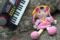 pink dolly - day 73 (Justin van Damme) Tags: pink dumpster found store spring stuffed garbage junk keyboard melting day winnipeg object dirty thrift dolly 73