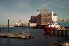 untitled (inafreeland) Tags: city urban industry film docks 35mm boat md factory maryland baltimore domino kodakgold200 canoneoselan7e