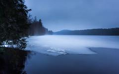 Finnish spring (kipuna) Tags: blue lake ice fog clouds evening jyvskyl ilta  jrvi j  sumu sininen   khni sadepilvet