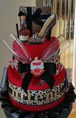 "Birthday Towel Cake""Delta Sigma Theta"" (babybizcakes) Tags: red black liquor leopardprint sorority centerpieces deltasigmatheta towelcakes"