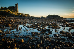 Dunure Castle at Sunset (jasonmgabriel) Tags: sunset sea building castle beach water landscape scotland scenery rocks ruin pebbles ayr dunure