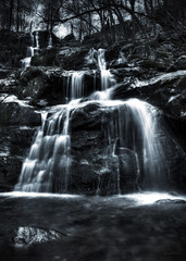 Dark Hollow Waterfalls (jed52400) Tags: nature water monochrome virginia rocks shenandoah tinted shenandoahnationalpark darkhollowwaterfalls