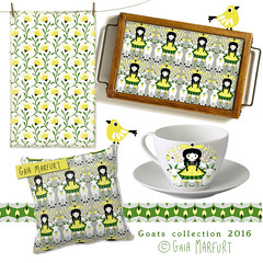 goat (Gaia Marfurt) Tags: house cup kitchen girl doll goat pillow tyrol vectorial teatowel patterndesign folkloristic