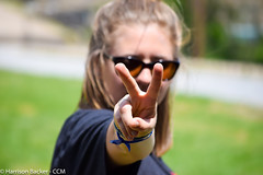 """PEACE!"" (backerharrison132) Tags: city blue trees portrait people woman brown white blur silly color tree green eye texture college nature glass girl beautiful grass sunglasses yellow lady composition pose hair lens fun person grey glasses town cool interesting eyes hands nikon friend university catholic peace dof hand angle natural emotion zoom bokeh outdoor finger fingers navy christian missouri blonde bracelet neat gaze depth capegirardeau exciting fingerprint lenses lightroom 55200mm d3300"