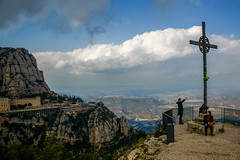 Cross at the edge (Jean I Cresol) Tags: mountain landscape outside outdoors march spring spain europe view walk religion 18th hills holy montserrat hdr 2016