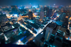 Future Bangkok (Castelaze_Studio) Tags: city longexposure blue skyline buildings thailand asia cityscape bangkok shift skyscrappers asie tilt thailande