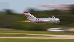 Streaking MiG (Rob Shenk) Tags: aircraft airplanes jet vietnam airshow soviet russian mig afterburner mig17 langleyafb