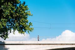 Greenside (lorenzoviolone) Tags: bridge sky italy roma tree clouds fence reflex nikon streetphotography stranger wires streetphoto dslr lazio fujiastia100f vsco d5200 nikkor18105mm nikond5200 vscofilm streetphotocolor walk:rome=april2016