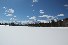 Mountains behind a frozen lake 6 (Aggiewelshes) Tags: travel winter snow mountains landscape scenery april snowshoeing wyoming jacksonhole colterbay frozenlake grandtetonnationalpark 2016 gtnp