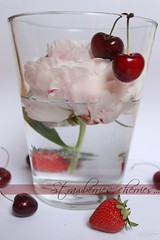 Strawberries, cherries..+wm (Nathalie_Dsire) Tags: summer flower macro water glass spring cherries strawberries peony