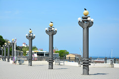 Russia. Anapa. Quay (Kira Pichano) Tags: travel blue tourism water port lights spring waterfront wind russia dove calm resort blacksea kuban anapa withoutpeople