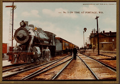 Railroad, No 5 on Time at Portage, Color Postcard