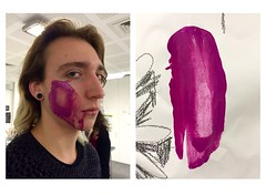 Oscar is the cutest paintbrush I own (Krillinator) Tags: boy people man male art college strange face kids pose painting studio person idea design oscar paint acrylic different cheek purple good expression mark painted indoor foundation human teenager posture done paintbrush markmaking