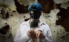 For Awhile Now (Byrds Eye Photography) Tags: portrait people abandoned girl photography model gasmask apocalyptic darkart
