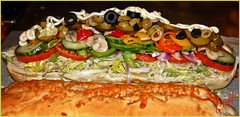 Good Enough to Eat ! (cliffhope73) Tags: mushrooms sub cucumber sandwich meat onions lettuce olives peppers nikoncliffhope