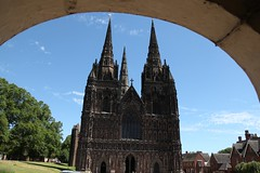 Lichfield Exterior View (Heaven`s Gate (John)) Tags: blue england sky building art stone architecture arch exterior cathedral gothic decoration spire elevation external lichfield lichfieldcathedral johndalkin heavensgatejohn