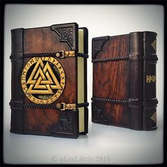 Havamal - The Words of the High One; wooden/leather journal in Nordic thematic...  #nordic #viking #valknut #runes #leatherjournal #woodenjournal #havamal #bookart #alexlibris (aLexLibris bookart) Tags: square squareformat nordic odin viking bookbinding runes bookart norse valknut etsyshop woodenbook leatherbook iphoneography instagramapp uploaded:by=instagram alexlibris