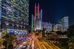 Urban lights (Godspeed70) Tags: china longexposure urban cars night skyscraper hongkong lights asia downtown cityscape colours traffic central hsbc