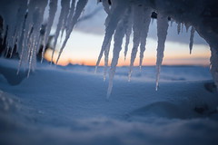 little daggers (almostsummersky) Tags: park trees winter sunset lake snow tree ice wisconsin clouds frozen branch horizon snowdrift madison icicle lakemendota giddingspark