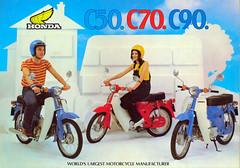 Honda  C50/70/90ZZ Brochure. (Lawrence Peregrine-Trousers) Tags: uk blue red bike honda cub britain super motorbike motorcycle 1979 zz c70 c50 c90 ffffffffff