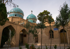 three domes moshtaghie, Central County, Kerman, Iran (Eric Lafforgue) Tags: old blue trees decorations building history horizontal architecture garden religious outdoors persian ancient asia iran muslim islam religion persia nobody courtyard mosque architectural historic holy historical iranian sight ornate kerman decorated qajar إيران placeofinterest иран イラン irão safavie 伊朗 builtstructure centralcounty colourpicture 이란 irandsc07258 moshtaghie