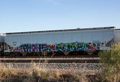 (o texano) Tags: bench graffiti texas phone houston trains fume wh freights benching