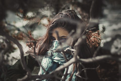 (PATHTIQUE) Tags: blue scarf 50mm intense mood teal f14 sony blueeyes lifestyle hidden vibes boho anonymous redhair tones bohemian wander bigbear russiangirl wanderfolk