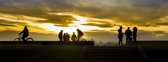 Silhouettes - promenade on the river Sava (pexart foto) Tags: sunset nature landscape silhouettes sava pejzaz