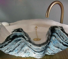 Blue Sink 5 (LittleGems AR) Tags: ocean blue sea sculpture sun beach home giant bathroom shower aquarium soap sand bath sink unique decorative aquamarine shell craft style toilet towel clam basin special clean shampoo taps wash seashell pearl nautical reef decor spa luxury opulent fossils clamshell mollusks cloakroom bespoke tridacna sculpt crafted gigas facetowel