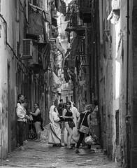 DSC05739_ep2_gs (Eric.Parker) Tags: italy italia naples napoli 2014 europe spaccanapoli graffiti bw lane nun baby alley sistersofmercy motherteresa madonna
