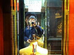 (takashi ogino) Tags: portrait people orange selfportrait color reflection yellow digital self glasses pentax cap q7 justpentax 01standardprime