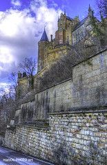 Hohenzollern Castle near to Hechingen (malioli) Tags: winter sky mountain snow tower castle heritage history monument water statue skyline architecture clouds canon germany landscape deutschland europe fort outdoor citadel stonework palace chateau stronghold fortress mystic hohenzollern
