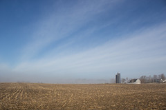 March Morning (marylea) Tags: morning blue sky clouds rural landscape cornfield midwest michigan farm bluesky 2016 mar12