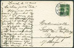 "Archiv E024 ""Frohes Osterfest"", Grukarte (back), Zrich Schweiz, Poststempel vom 15. April 1914 (Hans-Michael Tappen) Tags: schweiz stamps karte zrich 1910s 1914 postkarte briefmarke poststempel gruskarte frohesosterfest 1910er archivhansmichaeltappen"