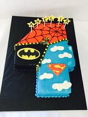 Superhero Birthday Cake (tasteoflovebakery) Tags: birthday blue red black yellow cake spiderman superman superhero batman
