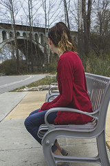 On a Bench (maddie1409) Tags: park light red portrait color fall lines contrast photoshop project photography lights graffiti washington day candid township