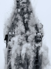 AFE demoliton in 2014 (Ralf Pelkmann) Tags: city light bw house frankfurt demolition afe