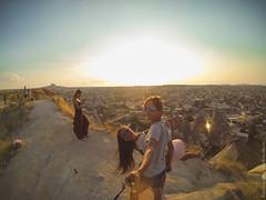 GoPro Selfie in Greme, Cappadocia /      ,  (travelordiephoto) Tags: sunset turkey cappadocia goreme  gopro