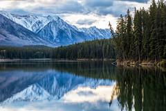 Fairholme Reflections (Kirk Lougheed) Tags: morning autumn lake canada fall water landscape nationalpark outdoor canadian alberta banff banffnationalpark canadianrockies johnsonlake