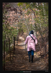 Walden Pond Path (Ilan Shacham) Tags: pink woman usa cold nature beauty boston vertical forest walking outdoors hiking massachusetts fineart scenic tunnel jacket walden magical waldenpond fineartphotography
