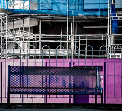 85A/66 No wating - 366 Project 2 - 2016 (dorsetpeach) Tags: blue england station bench scaffolding purple seat stripe railway railwaystation dorset 365 stripey dorchester striped 2016 366 aphotoadayforayear 366project second365project dorchestersouth