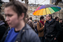 "7me nuit d'occupation de la Place de la Rpublique par le collectif ""Nuit debout"" - Paris, 6 avril 2016 (ND_Paris) Tags: gay paris france rainbow flag jeunesse revolution greve fra manif manifestation drapeau parapluie occupation jeune homosexuel occupy revolte nuitdebout"