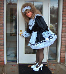 Locked out? (jensatin4242) Tags: sissy transvestite satin maid crossdresser petticoat frilly sissymaid jensatin