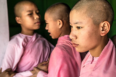 Three Little Nuns-DSC_1224-3 (thomschphotography3) Tags: school girls children colours burma streetphotography rosa nuns myanmar birma sagaing novices monasticschool