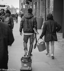 Urban Pet walking (Wayne Stiller) Tags: street people building london st site construction cross kings pancras
